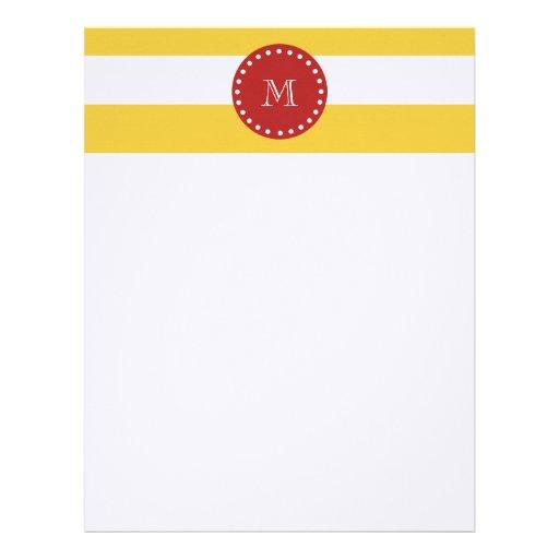 Modelo blanco amarillo de las rayas, monograma roj plantillas de membrete