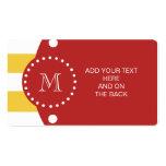 Modelo blanco amarillo de las rayas, monograma roj plantilla de tarjeta de negocio