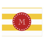 Modelo blanco amarillo de las rayas, monograma roj tarjetas de visita