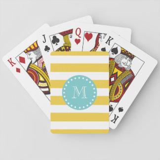 Modelo blanco amarillo de las rayas, su monograma cartas de juego