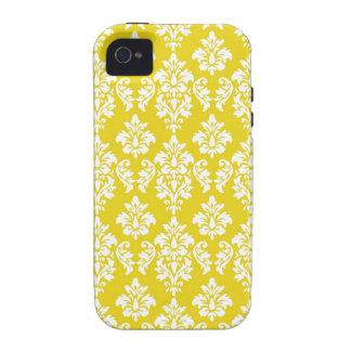 Modelo blanco amarillo del damasco del vintage Case-Mate iPhone 4 carcasas