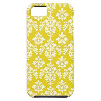 Modelo blanco amarillo del damasco del vintage iPhone 5 fundas