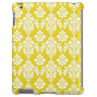 Modelo blanco amarillo del damasco del vintage funda para iPad