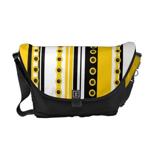 Modelo blanco amarillo negro de moda bolsa messenger