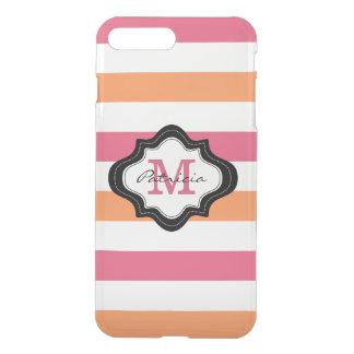Modelo blanco anaranjado rosado de la raya con fundas para iPhone 7 plus