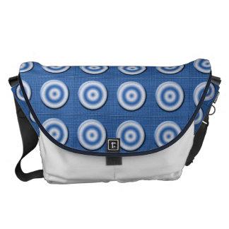 Modelo blanco azul biselado de los círculos bolsa de mensajeria