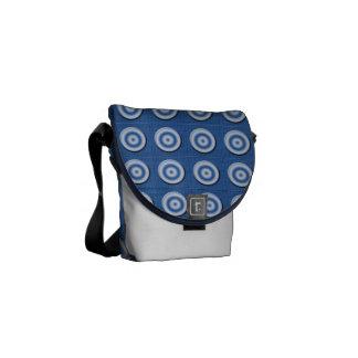 Modelo blanco azul biselado de los círculos bolsa messenger
