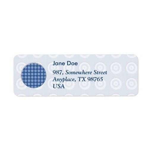 Modelo blanco azul biselado de los círculos etiqueta de remite