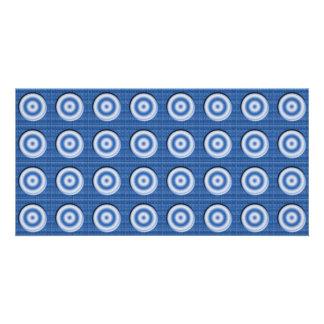 Modelo blanco azul biselado de los círculos tarjeta fotografica