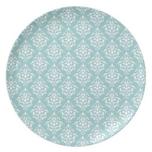 Modelo blanco azul claro 1 del damasco del vintage plato