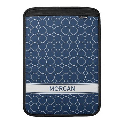 Modelo blanco azul conocido de encargo de los círc funda para macbook air