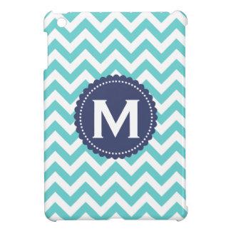 Modelo blanco azul de Chevron del monograma iPad Mini Funda
