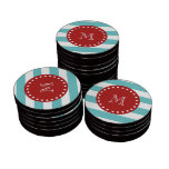 Modelo blanco azul de las rayas del trullo, monogr fichas de póquer