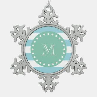 Modelo blanco azul de las rayas monograma de la v adorno