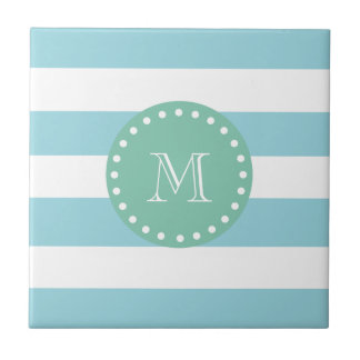 Modelo blanco azul de las rayas, monograma de la v tejas