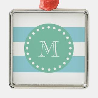 Modelo blanco azul de las rayas monograma de la v ornamento para arbol de navidad