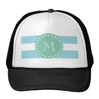 Modelo blanco azul de las rayas, monograma de la v gorros bordados