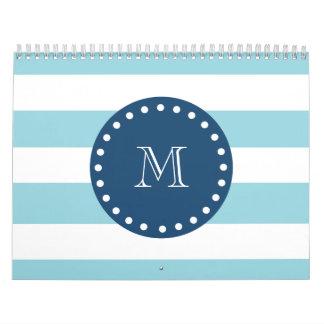 Modelo blanco azul de las rayas monograma de los calendario de pared