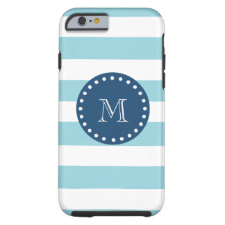 Modelo blanco azul de las rayas, monograma de los funda de iPhone 6 tough