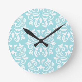 Modelo blanco azul del damasco de la aguamarina pá relojes de pared