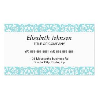 Modelo blanco azul del damasco de la aguamarina tarjetas de visita