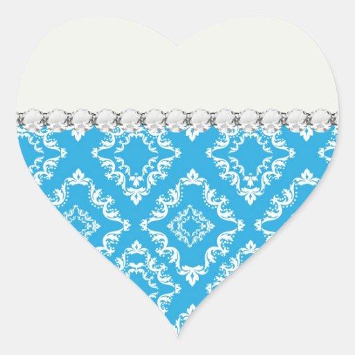 modelo blanco azul del damasco del diamante pegatina en forma de corazón
