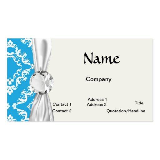 modelo blanco azul del damasco del diamante tarjetas de visita