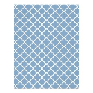Modelo blanco azul del marroquí de Quatrefoil de Tarjeton
