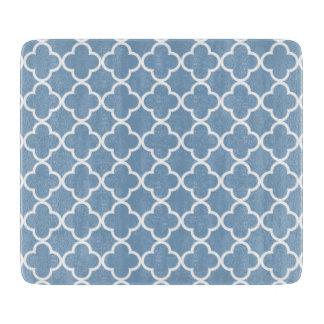 Modelo blanco azul del marroquí de Quatrefoil de Tabla De Cortar