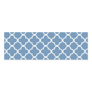 Modelo blanco azul del marroquí de Quatrefoil de Tarjetas De Visita Mini