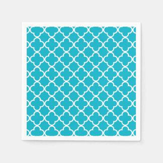 Modelo blanco azul del marroquí de Quatrefoil del Servilletas De Papel