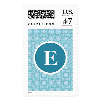 Modelo blanco azul del monograma del trullo estampilla