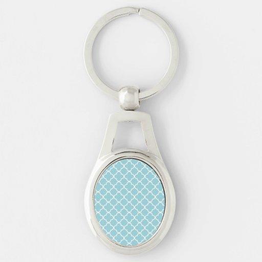 Modelo blanco azul marroquí de Quatrefoil Llaveros