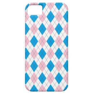 Modelo blanco azul rosado del argyle iPhone 5 fundas