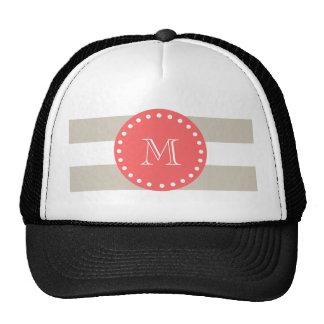 Modelo blanco beige de las rayas, monograma corali gorras de camionero