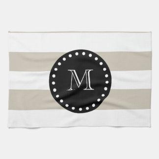 Modelo blanco beige de las rayas monograma negro toalla de mano