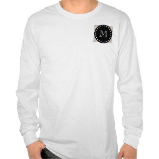 Modelo blanco beige de las rayas monograma negro
