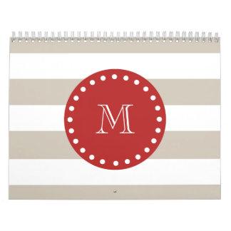 Modelo blanco beige de las rayas monograma rojo calendario