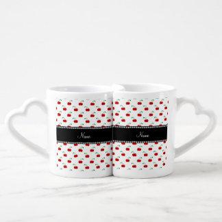 Modelo blanco conocido personalizado de la cereza taza para parejas