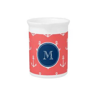 Modelo blanco coralino de las anclas, monograma de jarra