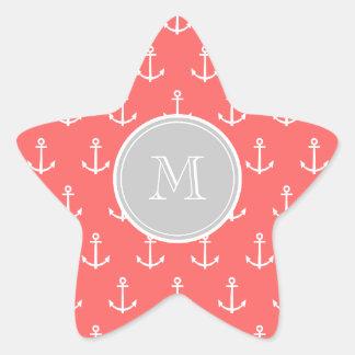 Modelo blanco coralino de las anclas, monograma de pegatina en forma de estrella