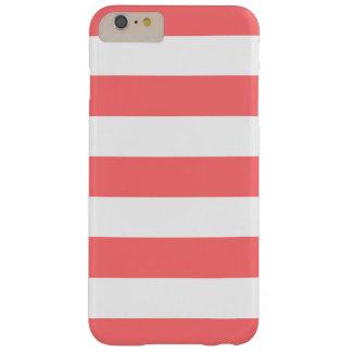 Modelo blanco coralino de las rayas femenino funda de iPhone 6 plus barely there