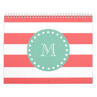 Modelo blanco coralino de las rayas monograma de calendarios