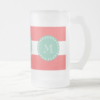 Modelo blanco coralino de las rayas, monograma de  tazas de café