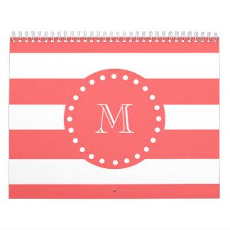 Modelo blanco coralino de las rayas su monograma calendarios