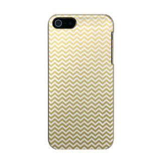 Modelo blanco de Chevron de la hoja de oro Carcasa De Iphone 5 Incipio Feather Shine