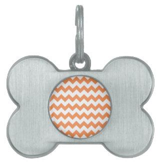 Modelo blanco de Chevron de la mandarina Placas Mascota
