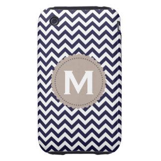 Modelo blanco de Chevron del monograma de los azul iPhone 3 Tough Cárcasas