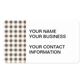 Modelo blanco de color topo de la guinga plantilla de tarjeta de negocio