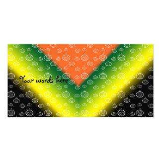 Modelo blanco de la calabaza en amarillo verde neg tarjetas personales con fotos